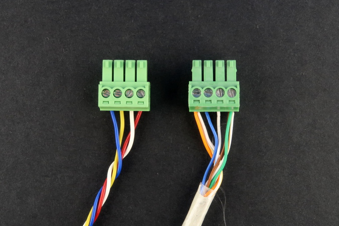 NOCAN wiring example with ordinary wires and an Ethernet cable
